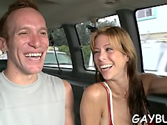 young amateur dude wants some gay sex in the car