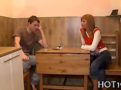 young russian babe gets nailed in front of her cuckold boyfriend