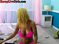 here's a hot blonde with big tits delivering a good webcam show