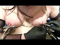 Very hot toture with big neddles in the nipples