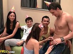 Hardcore students sex party with horny russian girls.