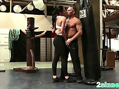 cute babe got fantastic doggy style fuck in gym