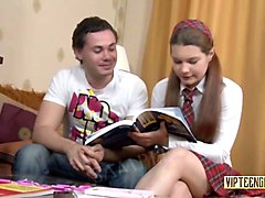 russian schoolgirl tutors guy in english