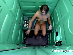 porta gloryhole blonde sucks in public porta potty gloryhole