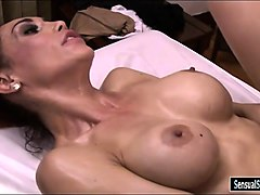 busty redhead tranny gets her anal fucked on massage table