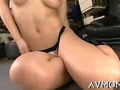 hot japanese babe oils herself and masturbates solo