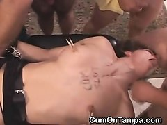 brunette whore gangbanged and facial at tampa gangbang