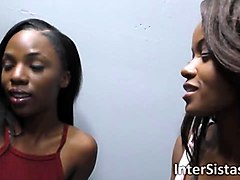 two gorgeous ebony babes visit glory hole saloon for the first time