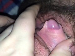 Hairy plays with huge clit