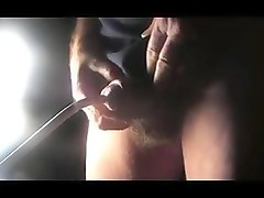 Man crossdresser sounding urethral dildo toy cock