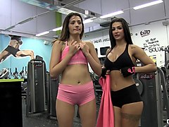 chicas loca - sexy latinas susy gala and penelope cum having some lesbian fun at the gym