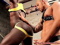 gorgeous black hunk being dominated