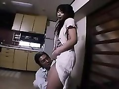 asian wife with a nice ass gets groped and gives head in th