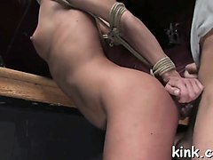 hot girl ass fucked and dominated in bondage by bartender.