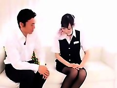 shy asian stewardess gets felt up and fingered by her horny