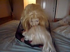 Crossdresser doll kisses doll and cums
