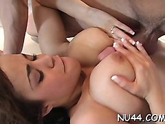 alluring cutie rides up throbbing cock and bounds on it fast