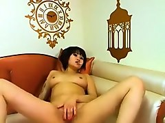 Sexy chubby asian babe at home stripteasing and enjoying and home