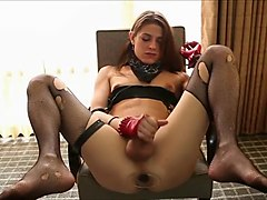 Transsexual Masturbates With Dildo In Her Ass