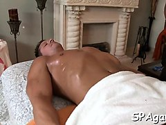 hot hunk gets a deep ass drilling from gay massage therapist