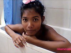 tiny thai teen heather deep gives deepthroat and get anal broken in shower with anal creampie