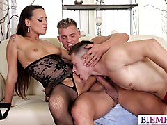 Hotwife shares her bi cuckold with her bull