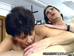 a glorious granny gets banged hard by a younger stud with a huge package