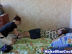 cuckolding beauty punishes cheating bf