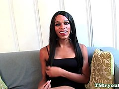Ebony trans tugging her cock at audition
