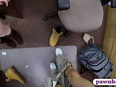 hot blond babe railed by pervert pawn man in his office