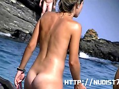 some girls of model appearance on a nudist beach hidden cam