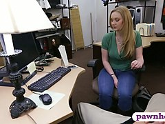 lovely blonde railed by pervert pawn man in his office