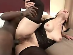 pale skin mature blonde lady happy to be blacked by a big stud