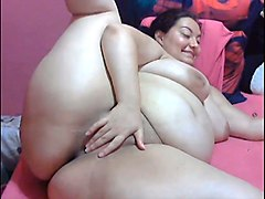 chubby whore with huge ass was teasing her own meaty pussy for joy