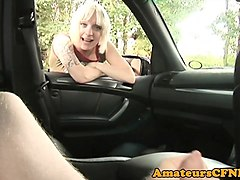 english cfnm babe sucking cock in a car pov