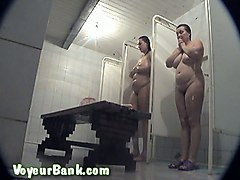 two fat white bitches unaware of hidden voyeur camera in the shower room