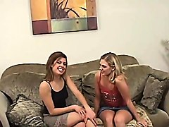 two lesbians play with dildos and make out