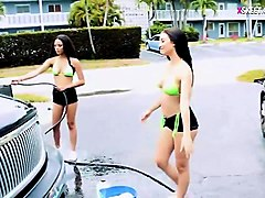 hot teens washing cars and get banged to earn some cash