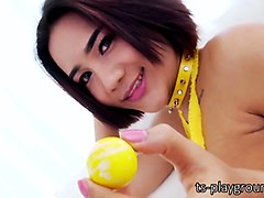 alluring ladyboy milky gets her anal ripped on the couch