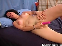 gorgeous hairy amateur masturbates with a toy