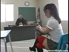 Slutty Brunette Sits On Desk Spreads Her Legs For Her Professor