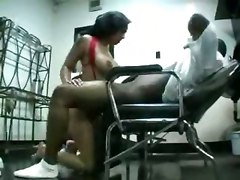 Ebony Hairdresser Blows Her Customer