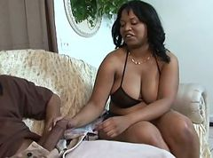 Black chick gets cock in her pussy then gets her cunt jizzed on
