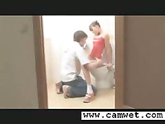 Lovely Teen Licked And Fucked On A Toilet