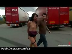 Bound Gagged Babe Bare Exposed To Truckers In The Parking