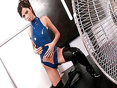 Girl In Blue Latex Fucking Around