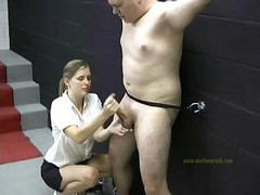 Bad Man Is Naked As He Is Punished By A Clothed Mistress